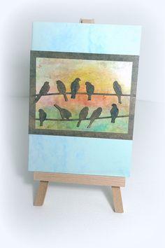 Chatline Handmade blank card Birds Sunset Encaustic by McRtyCards