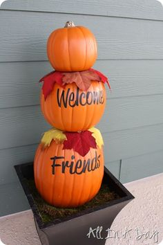 All In A Day: Pumpkin Topiary {Fall Front Porch}