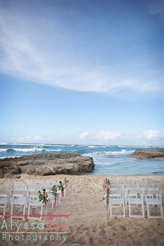 A simple ceremony set up at the 18th Green at Turtle Bay Resort. Photo by AlyssaPix. 18TH GREEN BEACH CEREMONY SITE FEE $3500 + tax. Includes: 1 hour vendor set-up time, 2 hour guest arrival & guest departure. Ceremony and photo opp. time, Up to 50 white folding chairs 1 skirted marriage license signing table with 2 chairs. Power not available. includes shuttle for 50 guests. Wedding planned by www.hawaiianweddings.net Hawaii Weddings by Tori Rogers, LLC