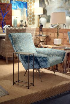 Upholstered blue #chair and #drinks #table at #Houston #Mecox #interiordesign #MecoxGardens #furniture #shopping #home #decor #design #room #designidea #vintage #antiques #garden