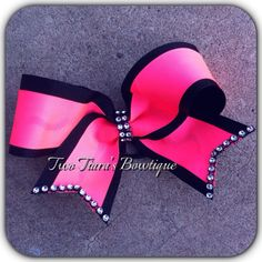 Neon Pink Black Bling Cheer Bow on Etsy or Facebook by Two Tiara's Bowtique