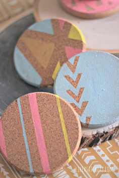 These are SO FREAKING CUTE!!! Geometric Cork Coasters by Like a Saturday