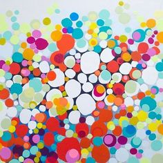 """So Pleased With His Bad Self"" is a 30x40"" painting about my relationship with my wonderful husband... Sometimes he just knows how to really make me laugh. So important! Painting details on my web site. #clairedesjardins #artwork #originalart #abstract #painting #abstractpainting #abstractart #art #colour #dots #lotsofdots #circles"
