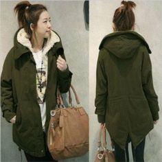 Womens Long Winter Warm Fleece Thicken Coat Hooded Outwear Parka Army Green XXL