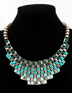 Blue Bib Knitted Collar Necklace