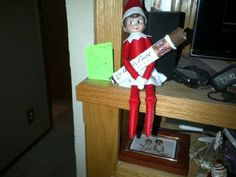 Suzy brought a candy bar from the North Pole.  Elf on the shelf