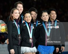 TOKYO, JAPAN - APRIL 13: Japan team skaters celebrate their bronze medal during day three of the ISU World Team Trophy at Yoyogi National Gymnasium on April 13, 2013 in Tokyo, Japan.