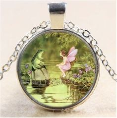 Fairy and Frog Photo Cabochon Glass Tibet Silver Chain Pendant Necklace#894 #Handmade #Pendant