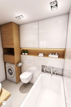 Home Interior Wood .Home Interior Wood Bathroom Toilets, Laundry In Bathroom, White Bathroom, Modern Bathroom, Small Bathroom, Compact Bathroom, Bathroom Shelves, Bathroom Organization, Toilette Design