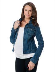 AG Jeans Flap Pocket Plain Weave Denim Maternity Jacket