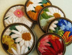 Recycled crewel brooches!! | These are about 2 1/2 inches ac… | Flickr