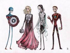 The Avengers. A Tim Burton's version.