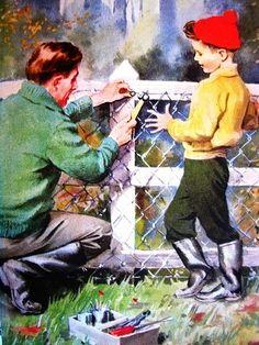 Consertando a cerca, Ilustração de J. H. Wingfield (Inglaterra, 1910-2002).
