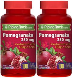 Pomegranate Extract 250 mg (Standardized) 2 Bottles x 100 Capsules Pomegranate Extract, Grape Seed Extract, Organic Seeds, Cardio Gym, Seed Oil, Healthy Choices, Cool Things To Buy, Vitamins, Clean Eating