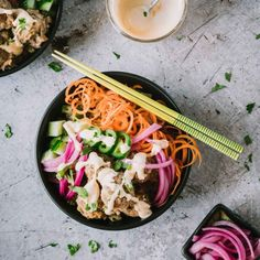 The beloved Vietnamese Banh Mi sandwich in grain bowl form! Easy to make, packed with crunchy veggies and delivering tons of delicious flavor in every bite - these grain bowls will be your new favorite weeknight meal. Turkey Recipes, Pork Recipes, Asian Recipes, Dinner Recipes, Ethnic Recipes, Healthy Recipes, Vietnamese Recipes, Healthy Dishes, Lunch Recipes