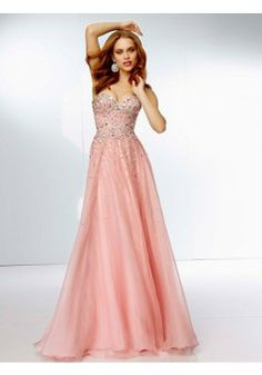 A-line Sweetheart Sleeveless Chiffon Pearl Pink Prom Dresses With ...
