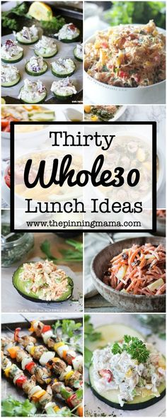 30 Whole30 Lunch Ideas - when you are doing the whole 30 diet and need recipes that are easy to make and give you lots of variety, check out this great lunch list! Diet Lunch Ideas, Health Lunch Ideas, Ideas For Lunch, Diabetic Lunch Ideas, Health Lunches For Work, Clean Eating Lunches, Clean Eating List, Meal Ideas, Diet Ideas