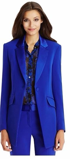 Autumn Winter Office Lady s 2018 Custom made Jacket Basic Elegant Ladies  Office Royal Blue Pant Suits 010e5a8cd