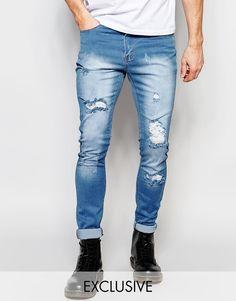 Liquor+&+Poker+Skinny+Extreme+Rips+Jeans+in+Light+Stonewash