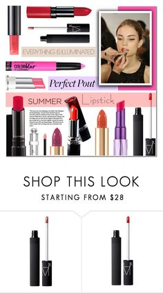 """""""The Perfect Pout: Summer Lipsticks"""" by anyasdesigns ❤ liked on Polyvore featuring beauty, Jagger, MAC Cosmetics, Dolce&Gabbana, NARS Cosmetics, Christian Dior, Beauty and summerlipstick"""