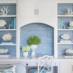 Blue Grasscloth on Back of White Built Ins - Cottage - Living Room Blue Rooms, White Rooms, Of Wallpaper, Blue And White Wallpaper, Office Wallpaper, Bedroom Wallpaper, Wallpaper Grasscloth, Seagrass Wallpaper, Coastal Wallpaper