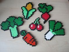 Fruit and Veg Perler Bead Sprites by PaintyPaws FRIDGE MAGNETS