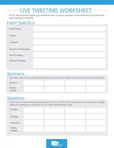 Live Tweeting Worksheet: Plan out your #SocialMedia strategy for a trade show, conference, or other live event