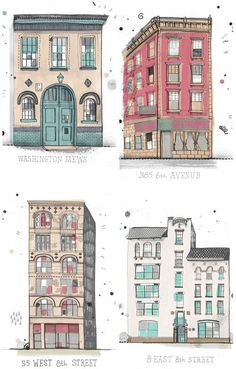 Architecture buildings illustration by James Gulliver Hancock - color palette. Art And Illustration, Building Illustration, Poster S, Urban Sketching, Grafik Design, Mail Art, Art Drawings, Drawings Of Buildings, Concept Art