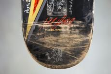 "Tom Petty drew a self portrait on Mike Vallely's skateboard, below the lyrics to ""I Won't Back Down."" This board and other equally amazing collaborations will be auctioned, beginning 12/3/12: www.boardsandbands.org"
