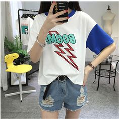 Harajuku Korea Chic Summer New Loose Short-sleeved T shirts Women Hit Color Student Tops Casual Letters Female T-shirt Fashion