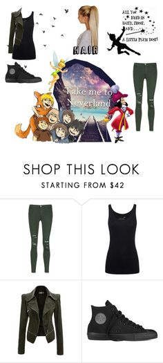 """#Neverland"" by metteaadahl on Polyvore featuring Disney, J Brand, Juvia and Converse"