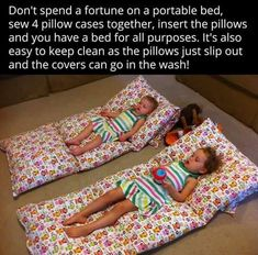 Saving money by using pillows instead of portable lounges for kids