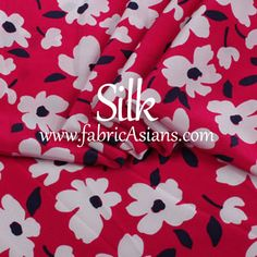 SILK  Daisy silk fabric. Red white Silk. Pure Silk by fabricAsians