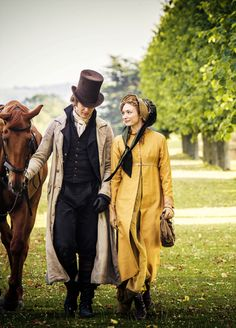 James Norton as Henry Alveston and Eleanor Tomlinson as Georgiana Darcy in Death Comes to Pemberley (TV Mini-Series, Model picture for Isabella and Griffith walking home from the cottage in An Inconvenient Beauty James Norton, Jane Austen, Regency Dress, Regency Era, Period Costumes, Movie Costumes, Historical Costume, Historical Clothing, Modern Clothing