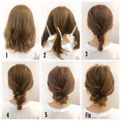 Messy bun for short hair. I'm sure I'd never be able to do it but it's cute                                                                                                                                                      More