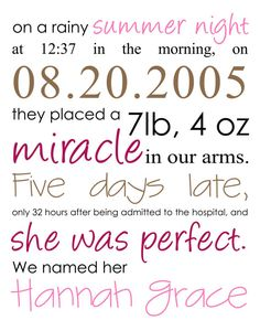 Birth announcement... too cute! But would be really cute framed in your child's room.