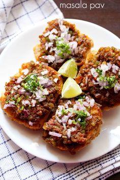 masala pav recipe with step by step photos. spicy mumbai street food recipe of masala pav. pav bhaji and masala pav are my favorite street food snacks. masala pav does taste similar to pav bhaji. Veg Recipes, Indian Food Recipes, Vegetarian Recipes, Cooking Recipes, Indian Snacks, Snacks Recipes, Indian Appetizers, Cooking Tips, Pav Recipe