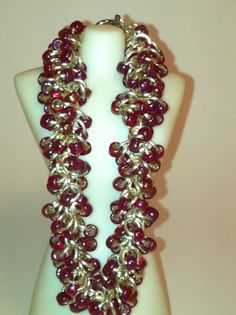 Shaggy Loops Chainmaille Bracelet with Beads