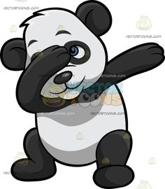 A Dabbing Panda :  A black and white panda raising its arms to the left to do the dab