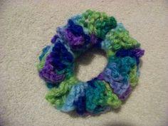 Hair Scrunchies - Hand Crocheted - Blues Greens & Purples (#240) #Scrunchies #Any