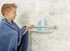 The Aging-in-Place Bathroom - Consumer Reports - like this tile and the shower bar/toiletries holder in one