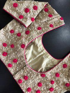 Latest designer ready made blouse design - The handmade craft Cutwork Blouse Designs, Pattu Saree Blouse Designs, Simple Blouse Designs, Stylish Blouse Design, Bridal Blouse Designs, Blouse Simple, Sari Design, Simple Embroidery Designs, Hand Work Blouse Design