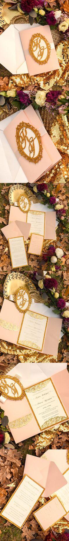 Gold Glitter Glam Wedding Invitation #glamwedding #fgold #shiny #elegant