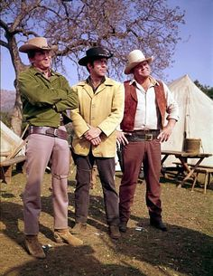 """Bonanza"" Michael Landon, Pernell Roberts, Dan Blocker circa 1964"