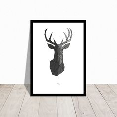 Low poly art deer. Christmas poster.  Available in other colors. Design Mai-Britt Parylewicz.