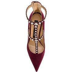 Sergio Rossi studded pointed toe pumps (4.845 RON) ❤ liked on Polyvore featuring shoes, pumps, heels/flats/sandals, studded pumps, pointy-toe flats, pointed toe flats, leather pointed toe flats and leather flats