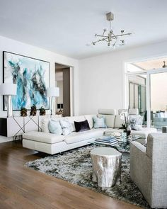 Modern White Leather Sectional with Pale Blue Pillows - Contemporary - Living Room White Couch Living Room, Silver Living Room, Modern White Living Room, Contemporary Living Room Furniture, Coastal Living Rooms, Living Room Sectional, White Rooms, Modern Room, Living Room Decor