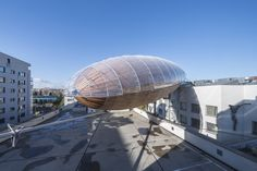 hut architektury lands giant airship atop of DOX in prague Pavilion Architecture, Architecture Wallpaper, Luxury Interior Design, Interior Design Inspiration, Temporary Structures, Amnesty International, Modern Buildings, Zeppelin, Future House