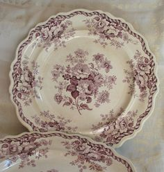 Antique Purple Transferware Plates Set of Two by marypearlsvintage, $100.00