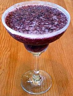 Fast & Simple - Blueberry Margaritas: ice cubes, tequila, fresh blueberries, frozen limeade, powdered sugar, cointreau, fresh orange juice, granulated sugar